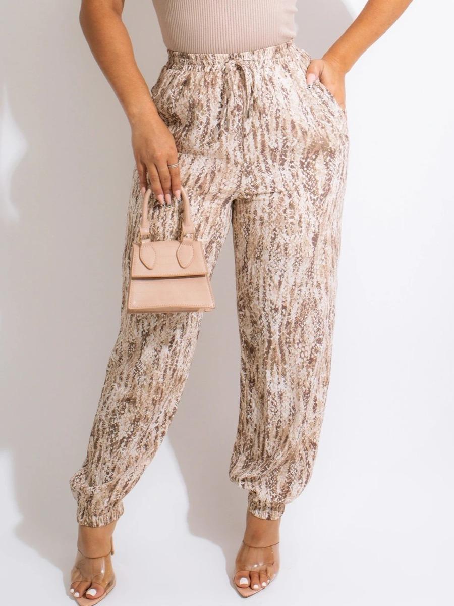 LW Mixed Print Drawstring Pocket Design Pants