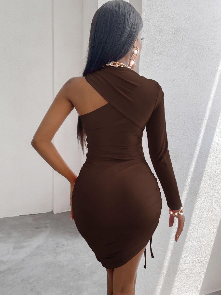 LW SXY One Shoulder Drawstring Ruched Bodycon Dress
