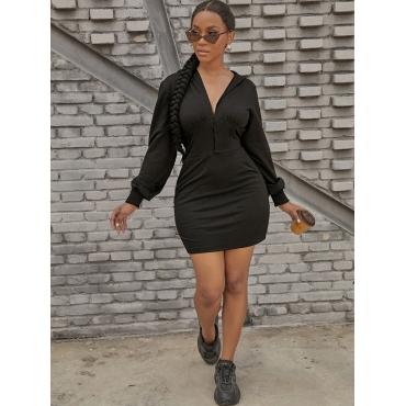 LW SXY Hooded Collar Button Design Sweat Dress