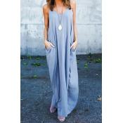 Повседневная V-образная вышивка Хлопчатобумажная смесь Светло-серое платье из хлопчатобумажной накладки (без аксессуаров)