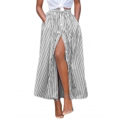 Casual High Waist Striped Polyester Ankle Length S