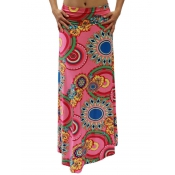 Stylish High Waist Printed Pink Polyester Ankle Le