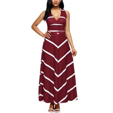 Fashion V Neck Striped Wine Red Polyester Ankle Length Dress