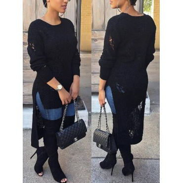 Stylish Round Neck Long Sleeves Black Cotton Sweaters