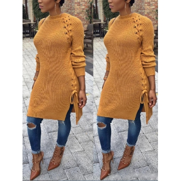 Cotton O neck Long Sleeve Long Pullovers Sweaters & Cardigans